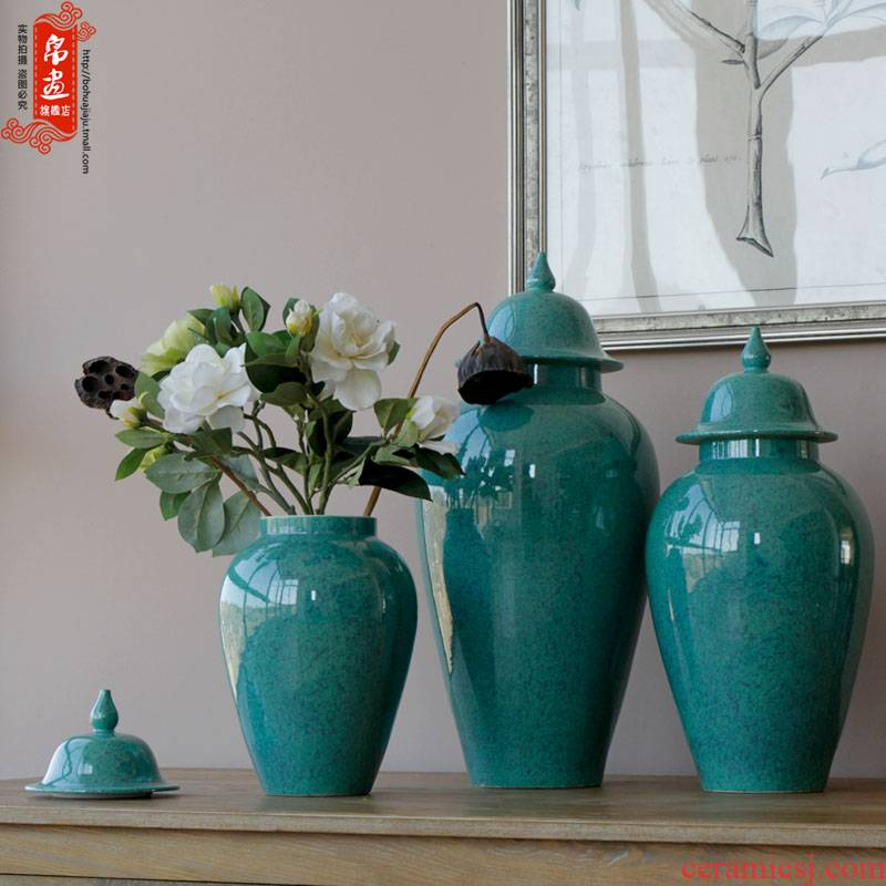 General jingdezhen ceramic pot vase creative up with dried flowers classical household pure color flower arranging soft outfit decoration furnishing articles