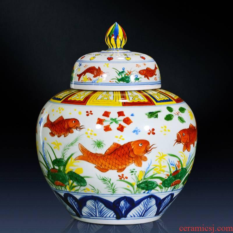Jingdezhen ceramics general furnishing articles hand - made jar with cover pot sitting room home decoration archaize porcelain jar restoring ancient ways