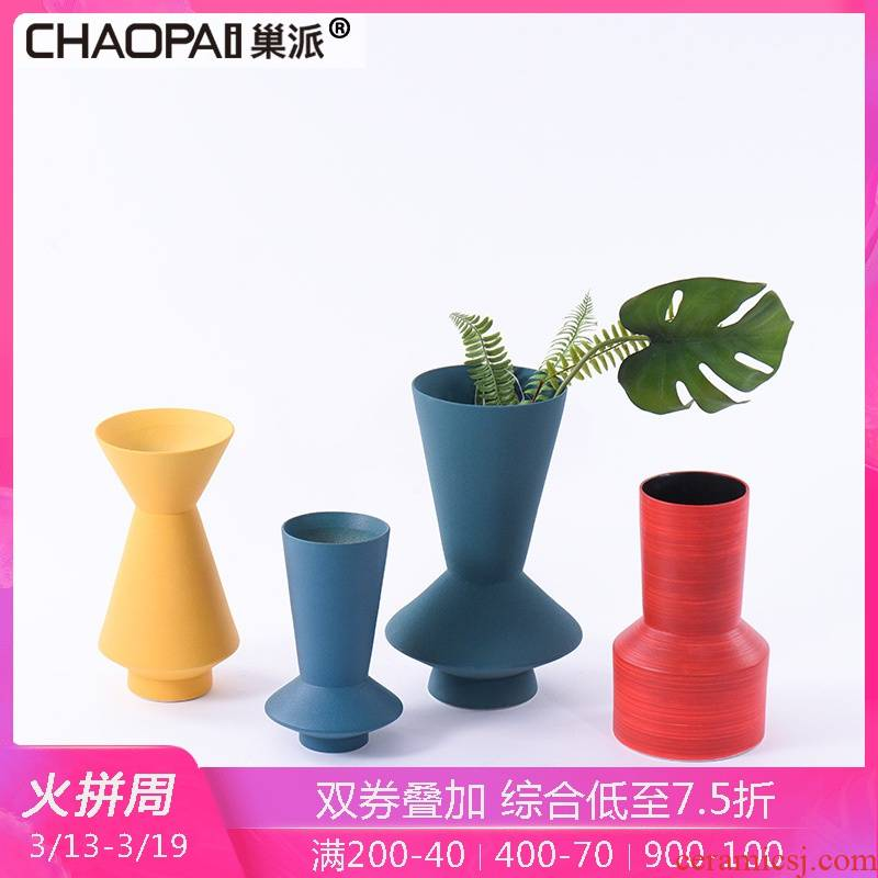 Creative move frosted color insert the flower vase furnishing articles office floor visitor desktop ceramic decoration