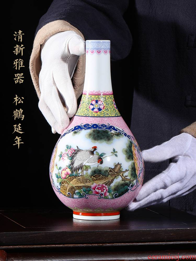 Jia lage jingdezhen ceramic furnishing articles YangShiQi the qing qianlong enamel color restoring ancient ways is loose the crane, yuhuan gall bladder vase