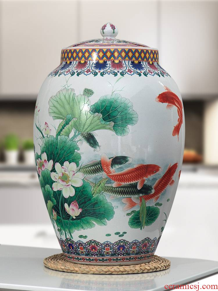 Jingdezhen ceramic barrel lucky ricer box surface box 30/50 jin with cover and seal storage tank with moistureproof insect - resistant