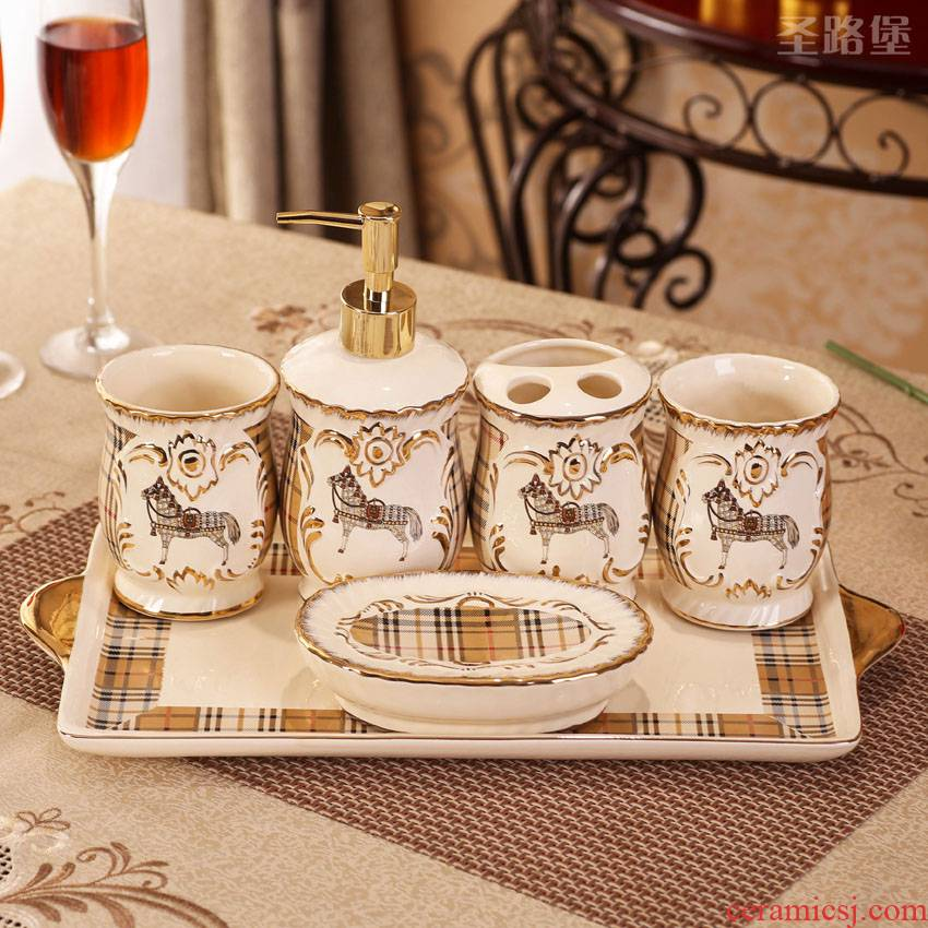 The Set bath five European style bathroom accessories ceramics furnishing articles practical for wash gargle suit wedding present for girlfriends