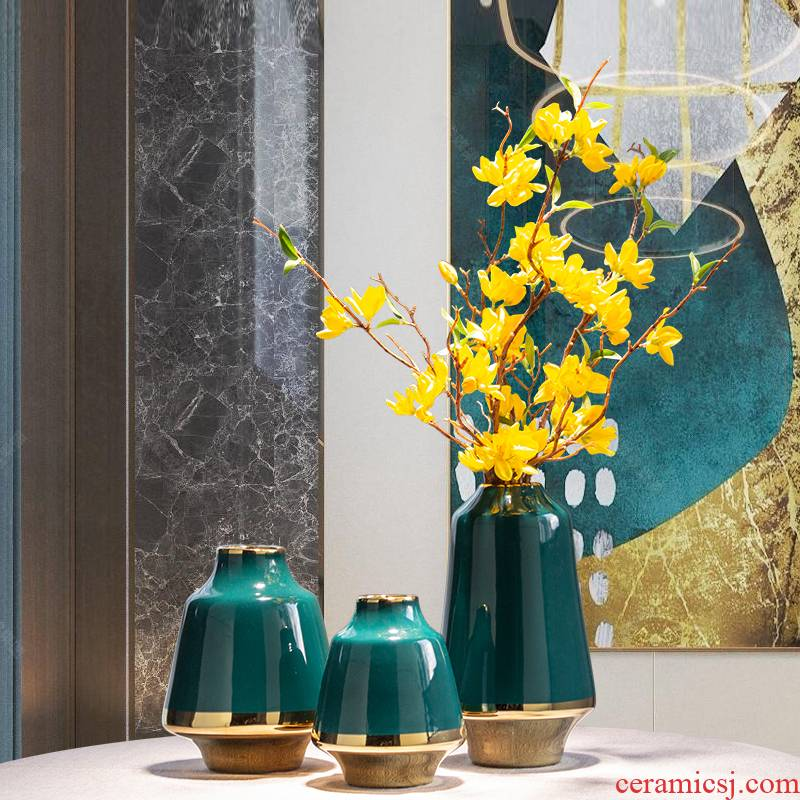 I and contracted light much wind ceramic craft vase dried flowers, sitting room, dining - room desktop furnishing articles American simulation flower arranging flowers