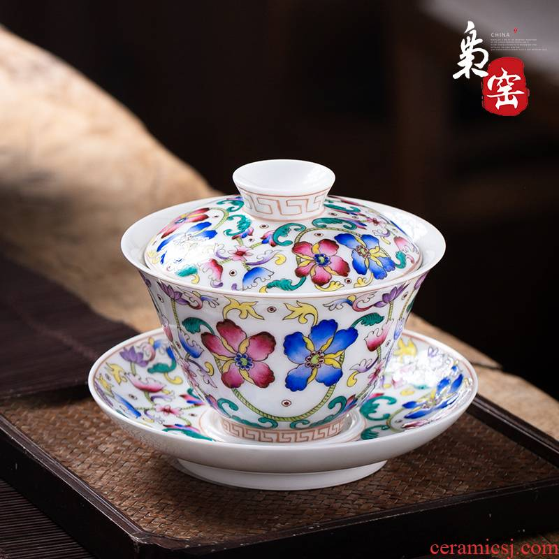 Jingdezhen ceramic checking tea tureen large cups colored enamel double pattern hand - made tea tea bowl