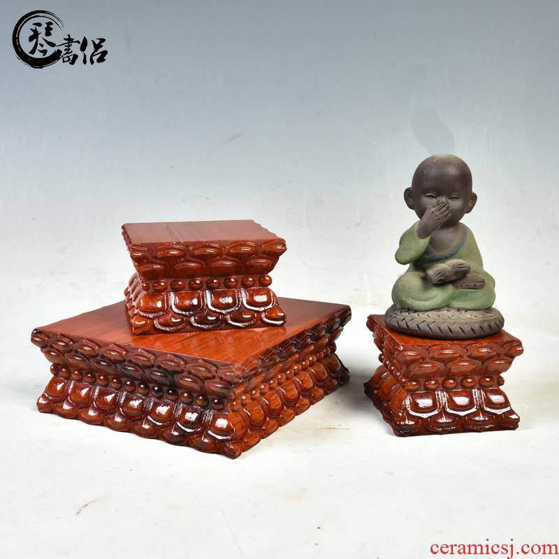 Solid wood base guanyin Buddha base Solid wood with rectangular wooden Buddha jade stone lotus base