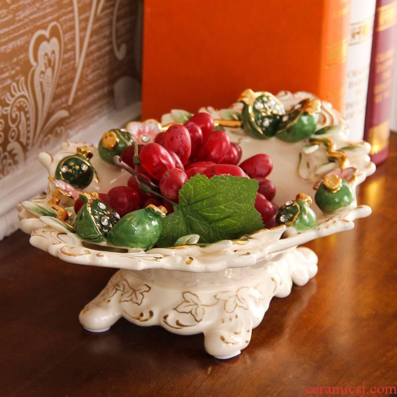 SAN road fort European ceramic bowl sitting room large fruit bowl creative household decorative ceramic bowl tea table furnishing articles