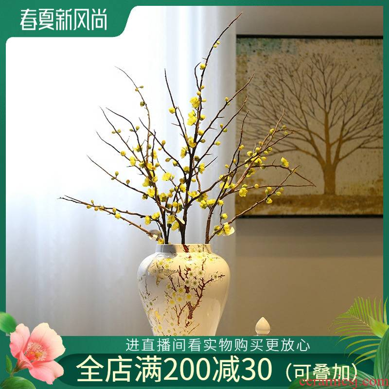 Jingdezhen ceramic vase porch mesa place the general pot of flower implement of new Chinese style decoration living room TV ark, receptacle