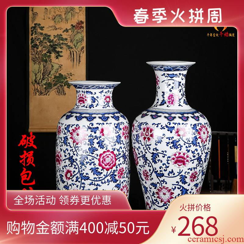 Jingdezhen ceramics archaize large blue and white vase bucket colors lotus flower pattern sitting room flower arranging Chinese style household furnishing articles