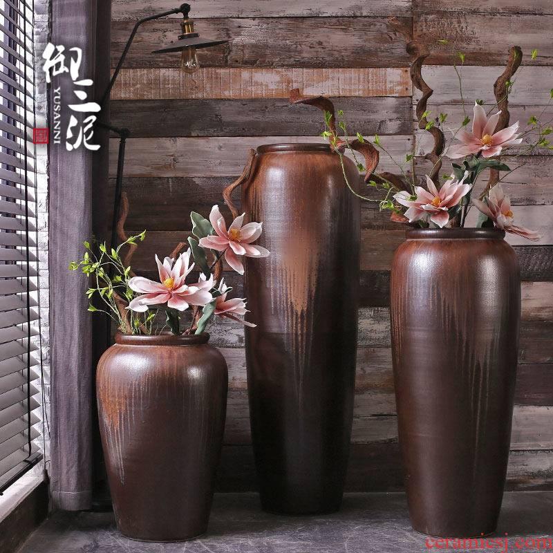 The Big vase furnishing articles living room European - style ceramics Big vase landing Chinese style household hotel furnishing articles flower arrangement
