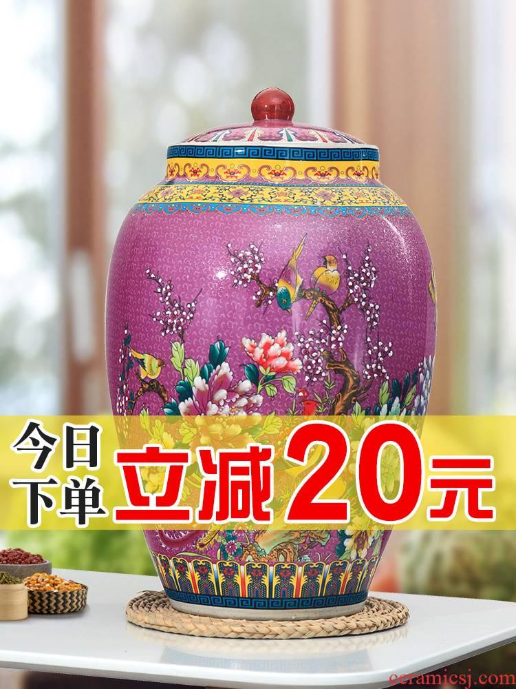Jingdezhen ceramic household moistureproof cylinder 20 jins 30 kg barrel 50 kg rice buckets with cover cylinder tank storage tank
