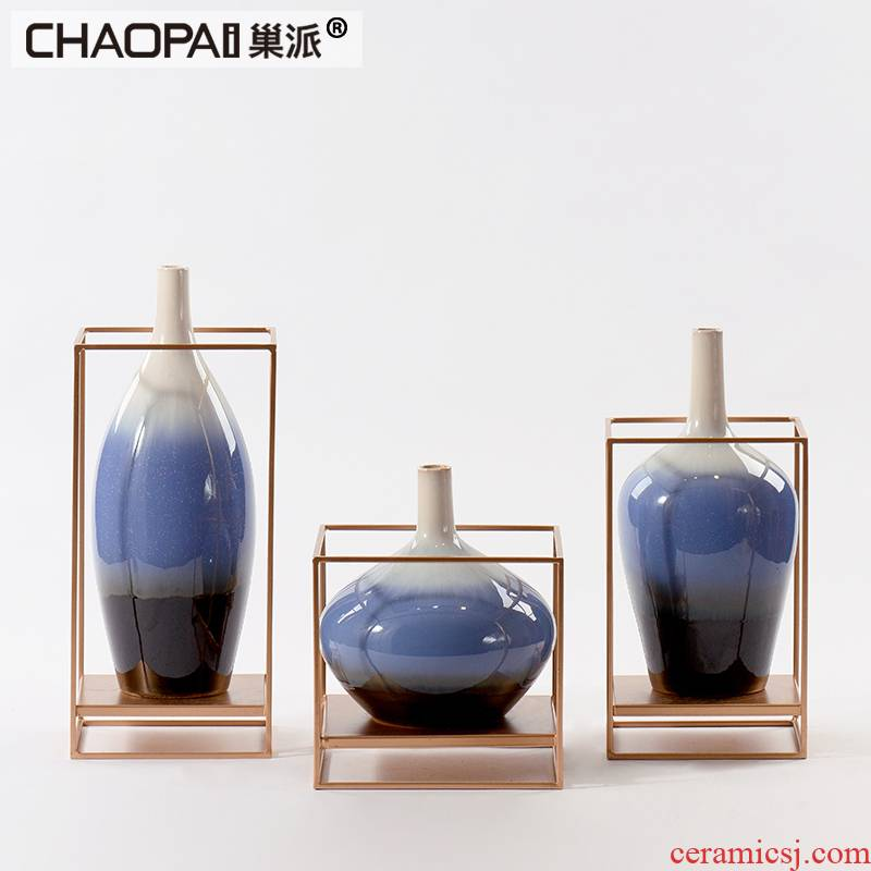 New classical three color porcelain pot rich ancient frame combination of furnishing articles Chinese style wine ark, side postmodern decoration decoration