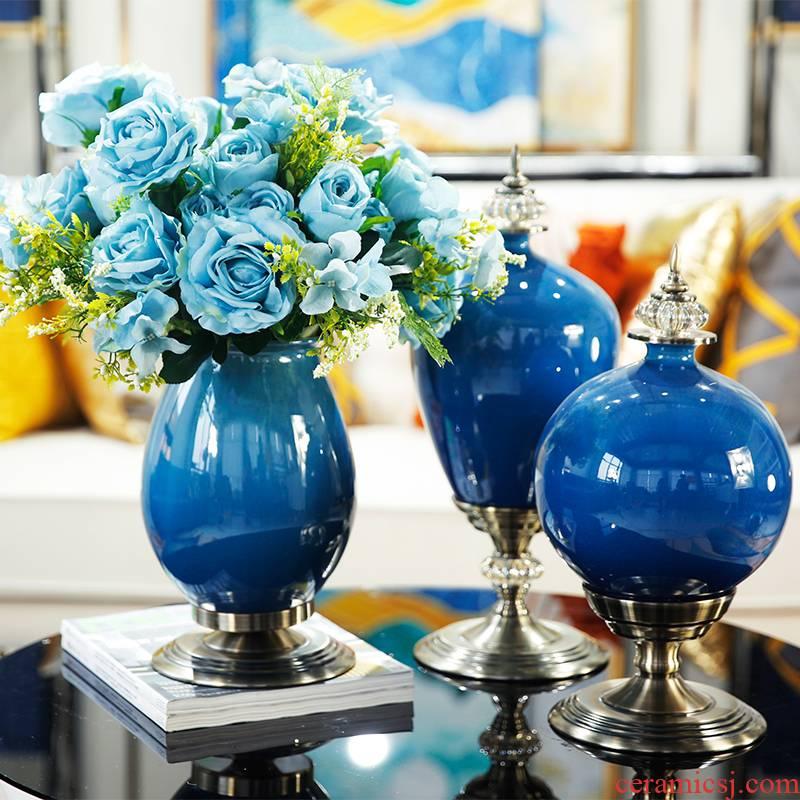 The American table decorations furnishing articles ceramic vases, flower arrangement sitting room porch simulation TV ark, desktop decoration