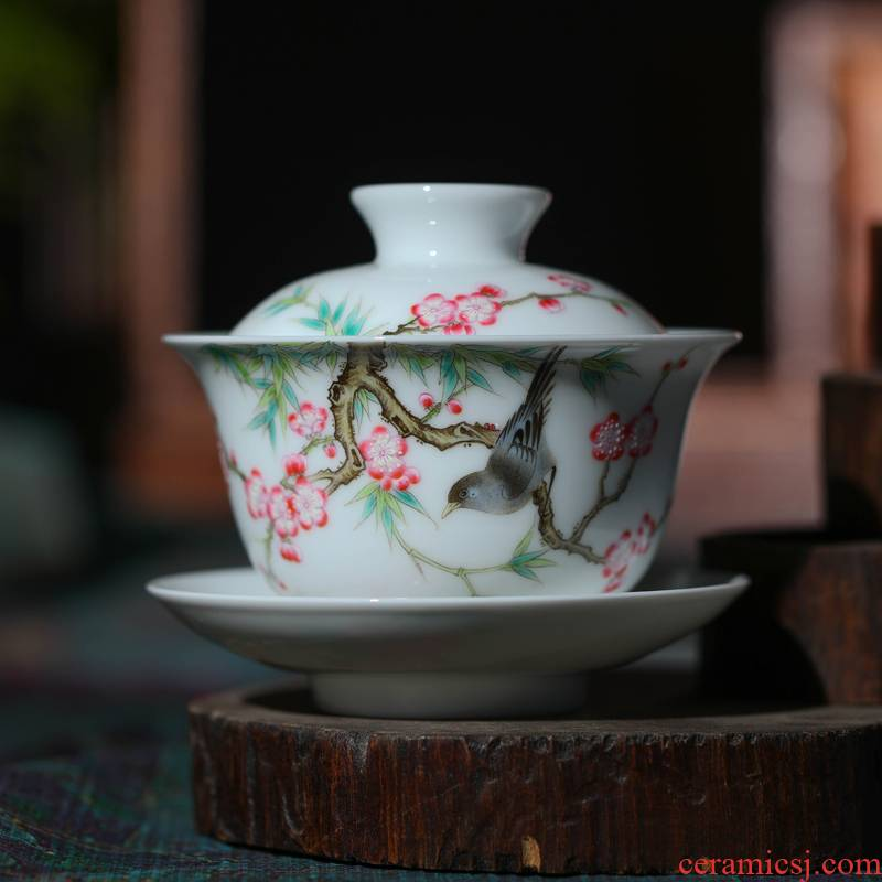 Jingdezhen porcelain tea tureen bowl three only three to use of hand - made glass ceramic famille rose tea cups pure manual