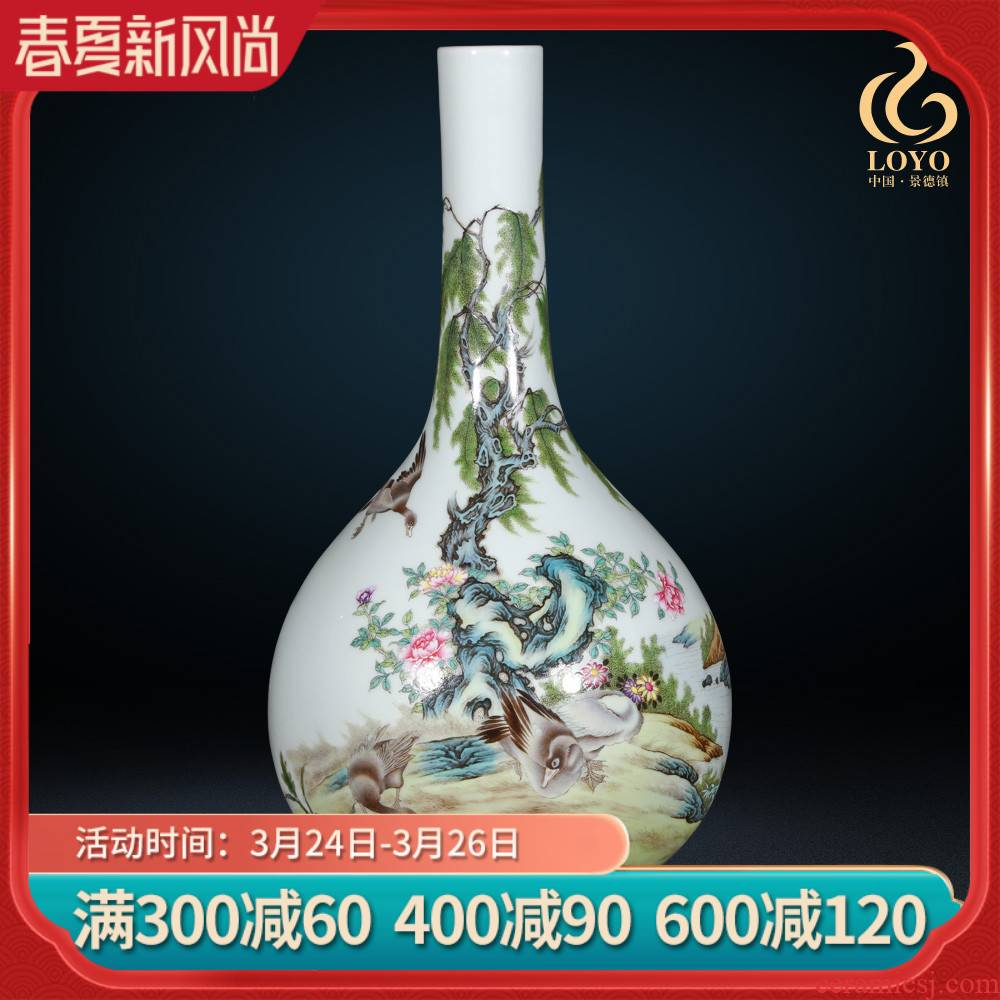 Jingdezhen ceramics imitation the qing qianlong pastel willow vases, new Chinese style living room decorations furnishing articles of handicraft