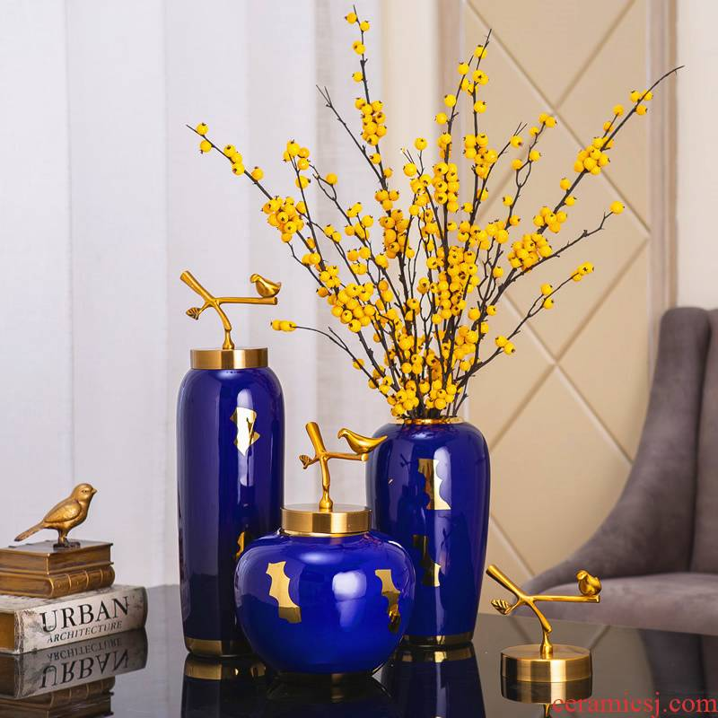 Jingdezhen ceramic vase furnishing articles Nordic light modern new Chinese style key-2 luxury living room dry flower decoration decoration flower hydroponics