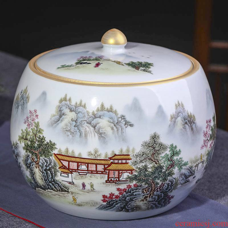Jingdezhen ceramic tea pot Chinese large seal pot puer tea cake cylinder storage tanks receives decorative furnishing articles