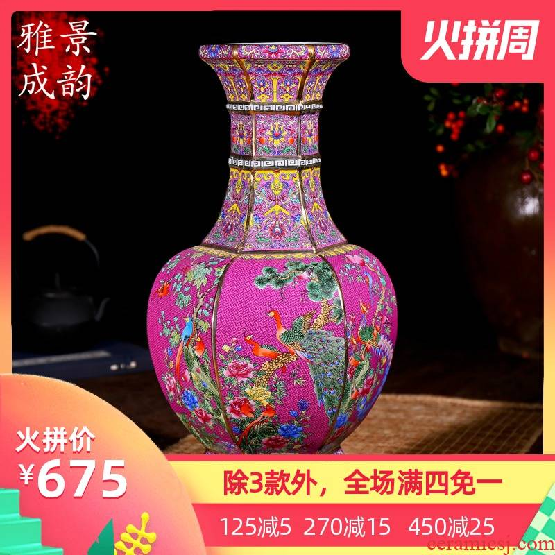 Jingdezhen ceramics antique vase manually restoring ancient ways of large vases, sitting room dry flower is placed continental red