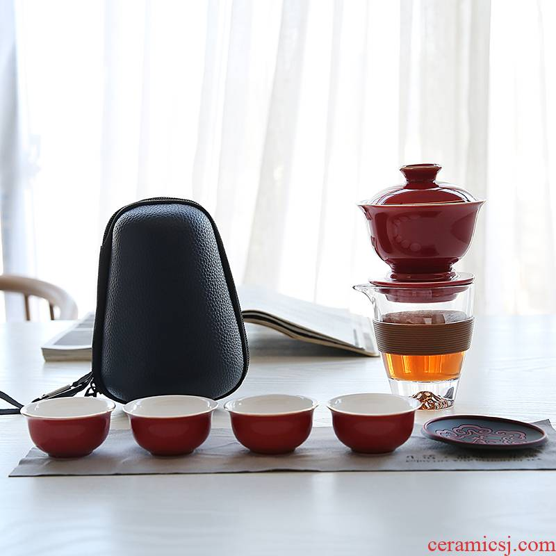 Travel tea set ji blue ceramic semi - automatic lazy is suing Travel portable crack a pot of four cups of tea