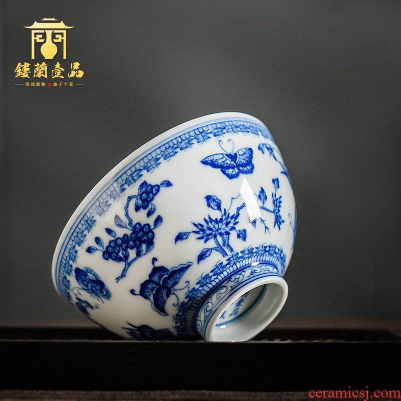 Jingdezhen ceramic hand - made maintain blue - and - white recent master single cups of large sample tea cup kung fu tea cups