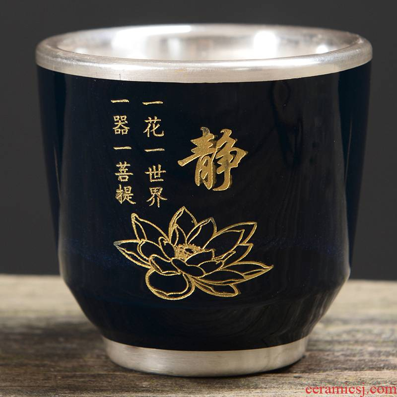 Silver cup individual cup of heart sutra cup the great mercy mantra tank 999 sterling Silver mine loader Silver buddhist ji blue ceramic masters cup