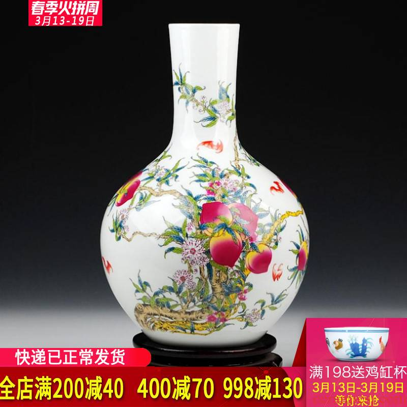 Archaize of jingdezhen ceramics powder enamel vase live figure sitting room home decoration handicraft decoration gifts