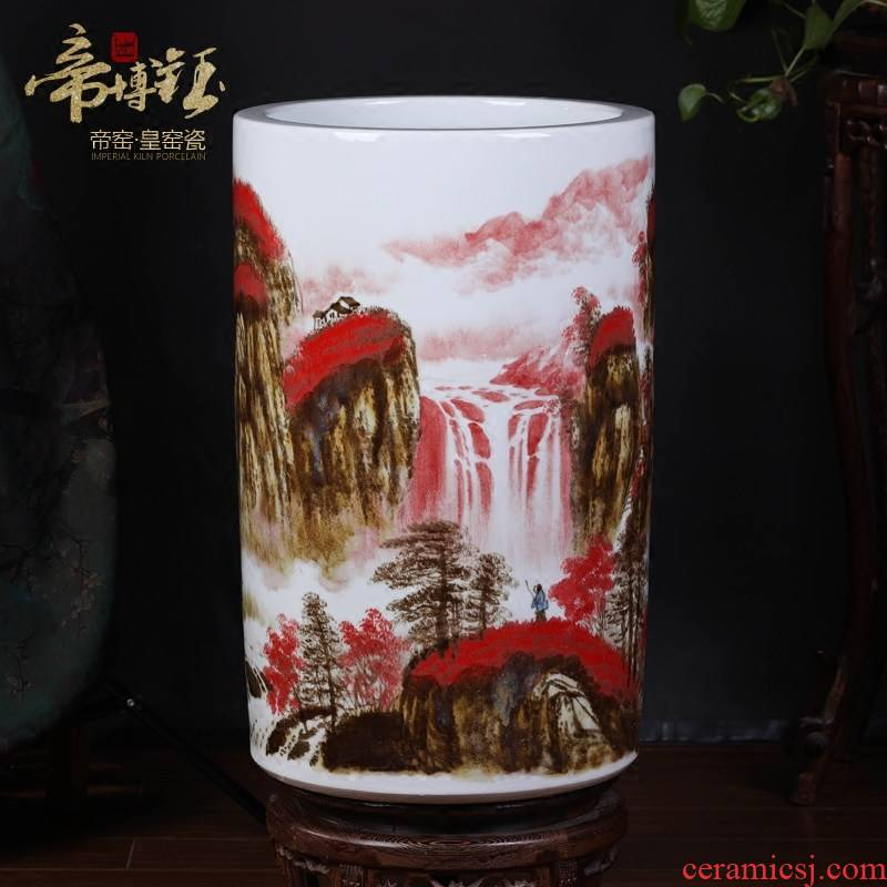 Jingdezhen ceramics up with hand painting and calligraphy master cylinder quiver of calligraphy and painting scroll cylinder storage tank of large vase