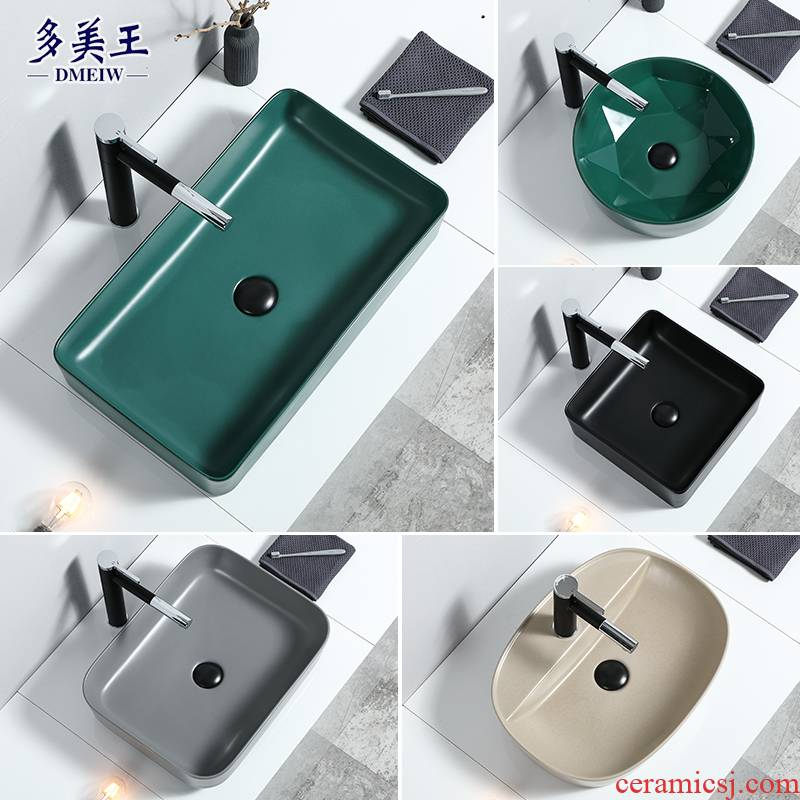 The stage basin sink single household toilet lavatory Nordic square ceramic art basin basin water basin