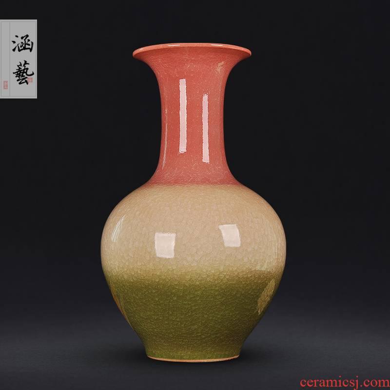 Jingdezhen ceramics up porcelain vase three Yang kaitai, new Chinese style flower arrangement sitting room adornment is placed craft gift