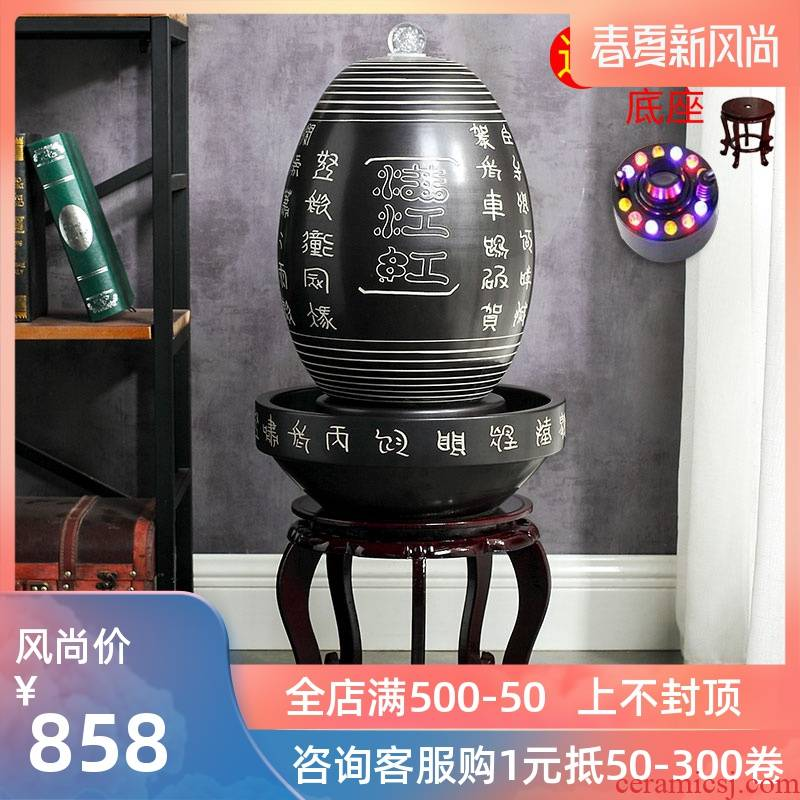Jingdezhen ceramics fountain humidifier water tank fall pillar sitting room aquarium household act the role ofing is tasted