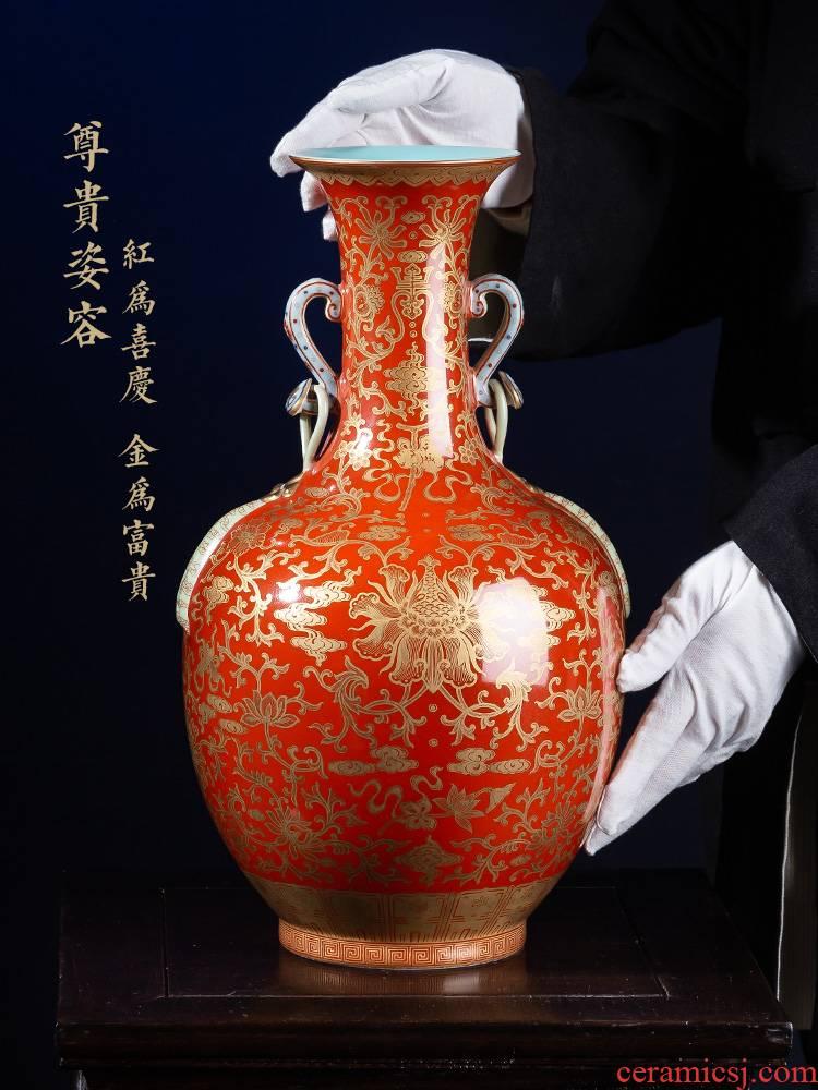 Jia lage jingdezhen ceramic vase YangShiQi hand - made alum red paint in a branch grain satisfied double ears