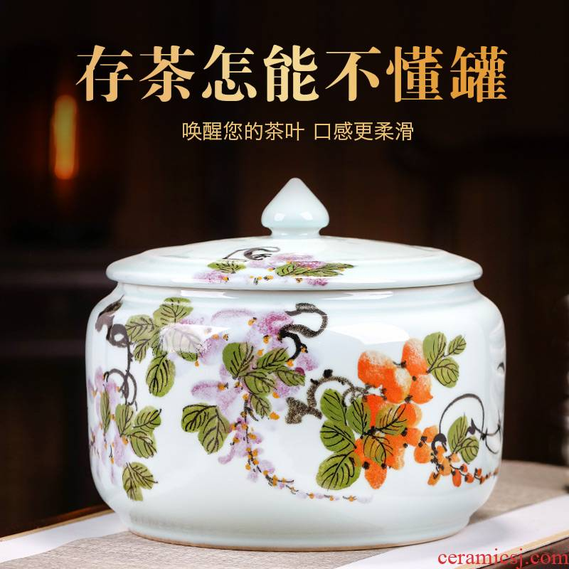 Jingdezhen hand - made ceramic tea pot home large storage and receives white tea pu 'er tea cake, the seventh, peulthai the seal pot