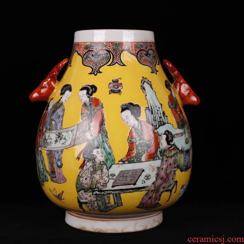Jingdezhen ceramics imitation the qing kangxi with pastel deer head statute of the tube of antique reproduction antique furnishing articles of handicraft