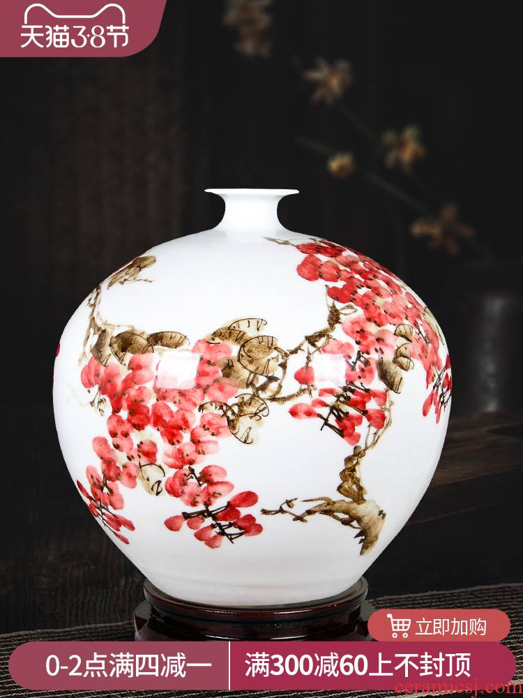 The Master of jingdezhen ceramics hand - made pomegranate vases, flower arrangement of Chinese style living room TV ark, crafts ornament