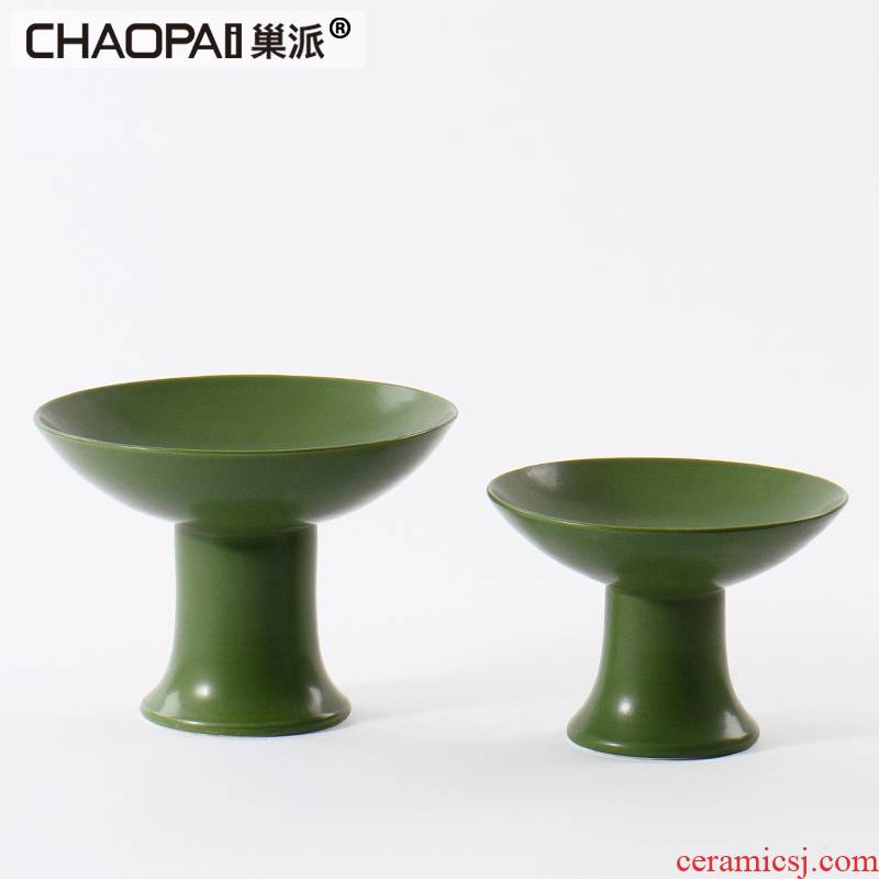 New Chinese style green ceramic plate is placed between the rural style example restaurant restaurant practical tray was soft adornment