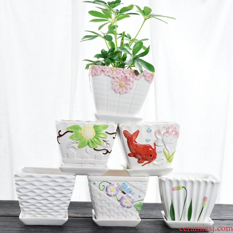 Square flowerpot ceramic special offer a clearance of household, green potted bonsai creative move more than other small meat flowerpot