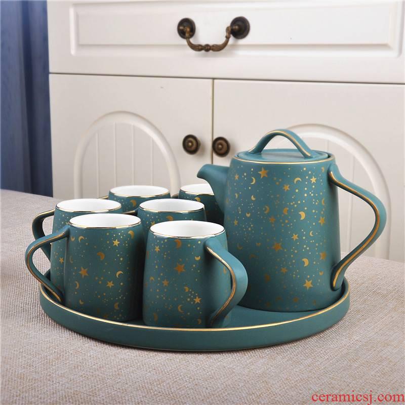 Jingdezhen ceramic tea cup tea tray was eight suit teapot European household glass teapot