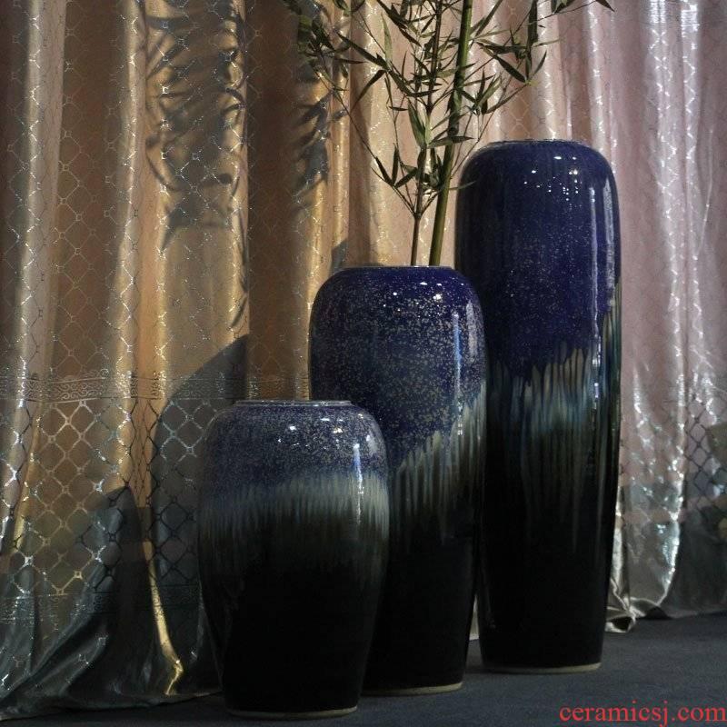 POTS of new Chinese style villa home furnishing articles ceramic cylinder ground vase vase vase household decoration decoration