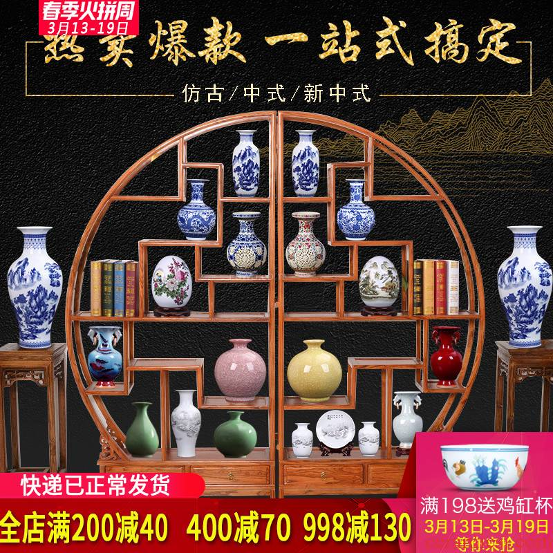 Blue and white porcelain vases, flower arrangement of jingdezhen ceramics furnishing articles sitting room ark office rich ancient frame home decoration