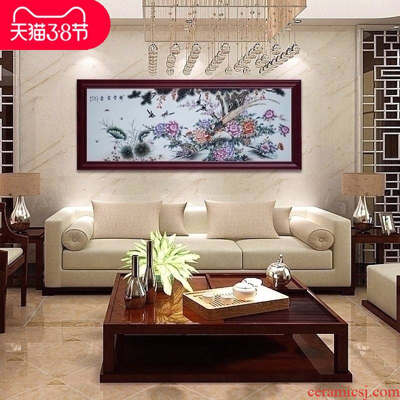 Jingdezhen ceramic central scroll landscape porcelain plate painting the mural wall act the role ofing sitting room wall hanging glaze color rich on fertility