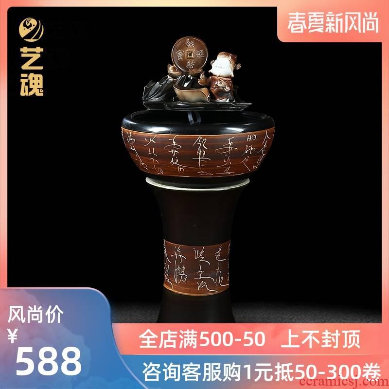 Jingdezhen ceramic aquarium fish circulation pump cylinder decorative household small desktop filtering water to raise a goldfish bowl