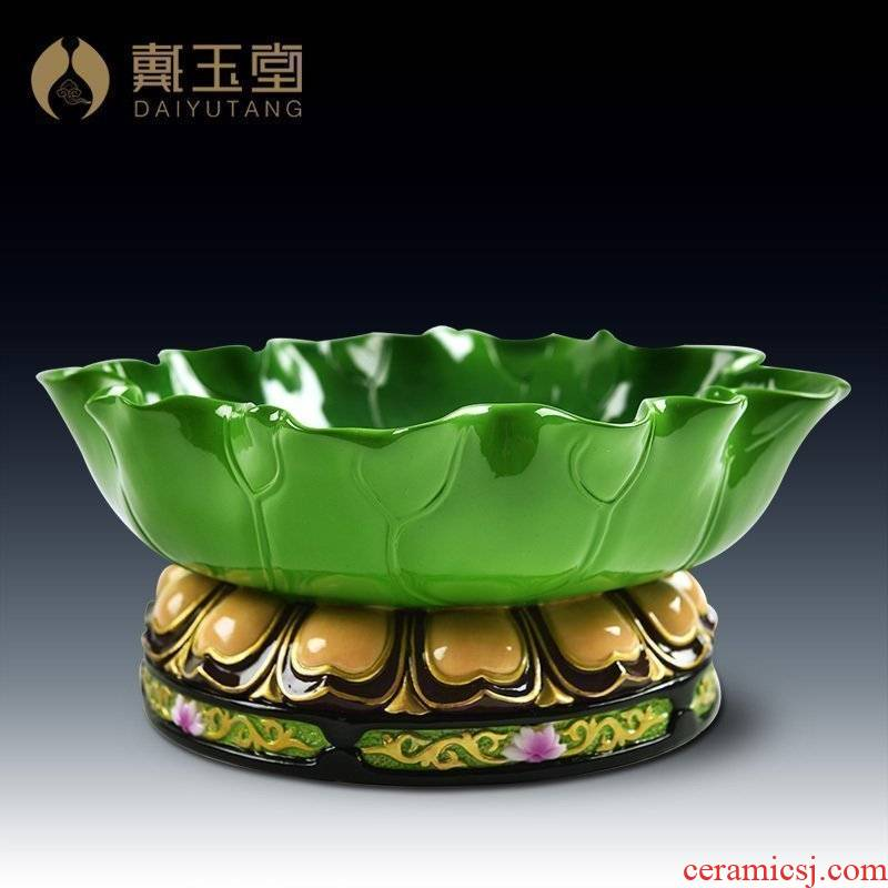 Yutang dai buddhist worship plate of fruit bowl/ceramic furnishing articles 9.5 inch household GuLian compote (D14-57)