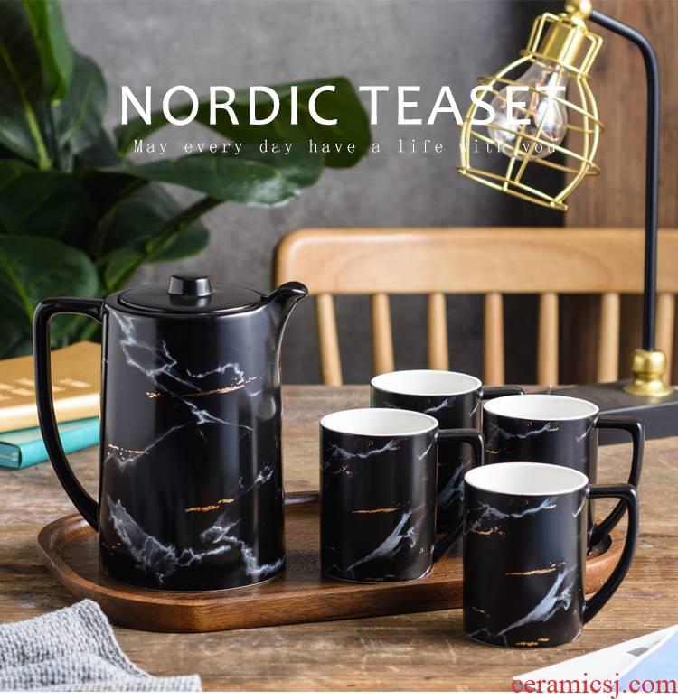 The Nordic idea ceramic tea set suits for domestic large capacity flower pot male move woman pure manual small tea cups