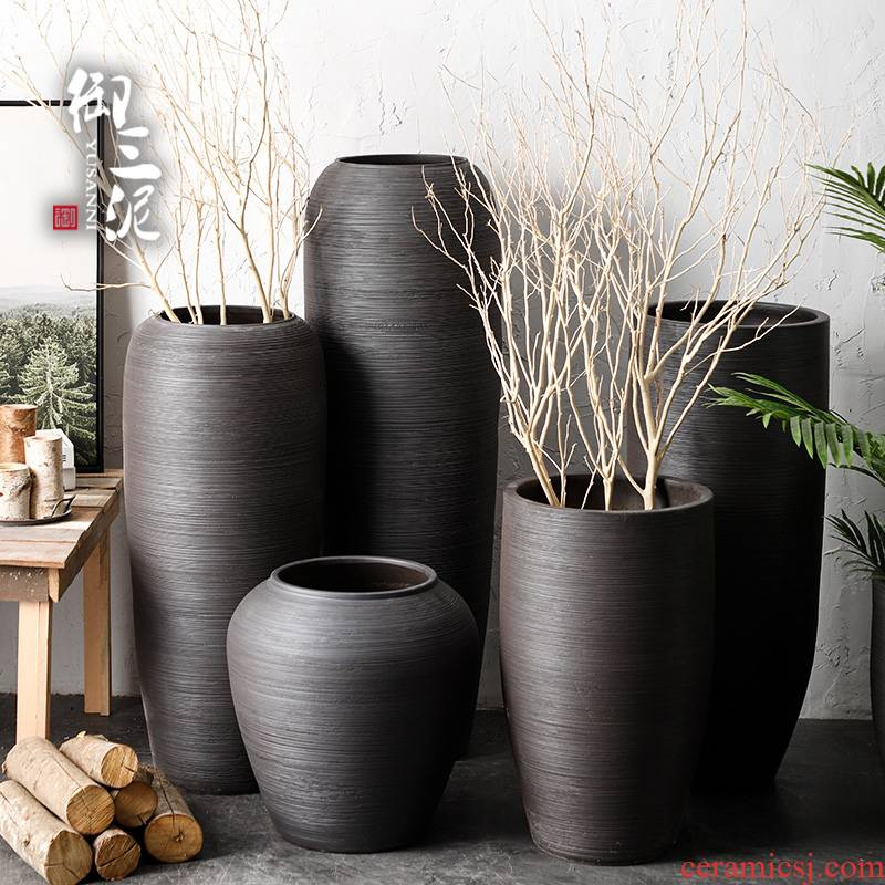 Nordic I and contracted, dried flowers sitting room ground ceramic vase flowerpot zen black pottery decorative furnishing articles arranging flowers