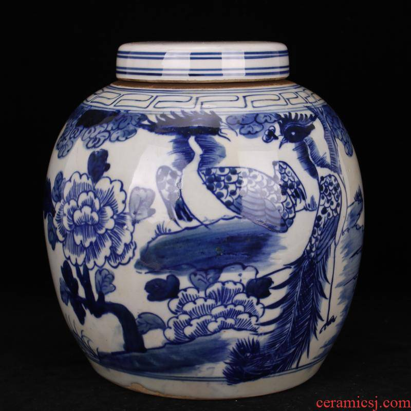 Jingdezhen folk pure checking old blue and white flowers and birds POTS phoenix do old antique reproduction antique collection furnishing articles