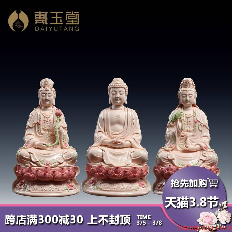 Yutang dai ceramic three holy Buddha guanyin western home furnishing articles to the as has trend to bodhisattva like at home