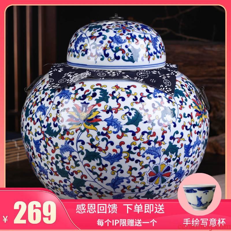 Jingdezhen ceramic POTS of tea pot, box seal storage tank of blue and white porcelain household storage POTS