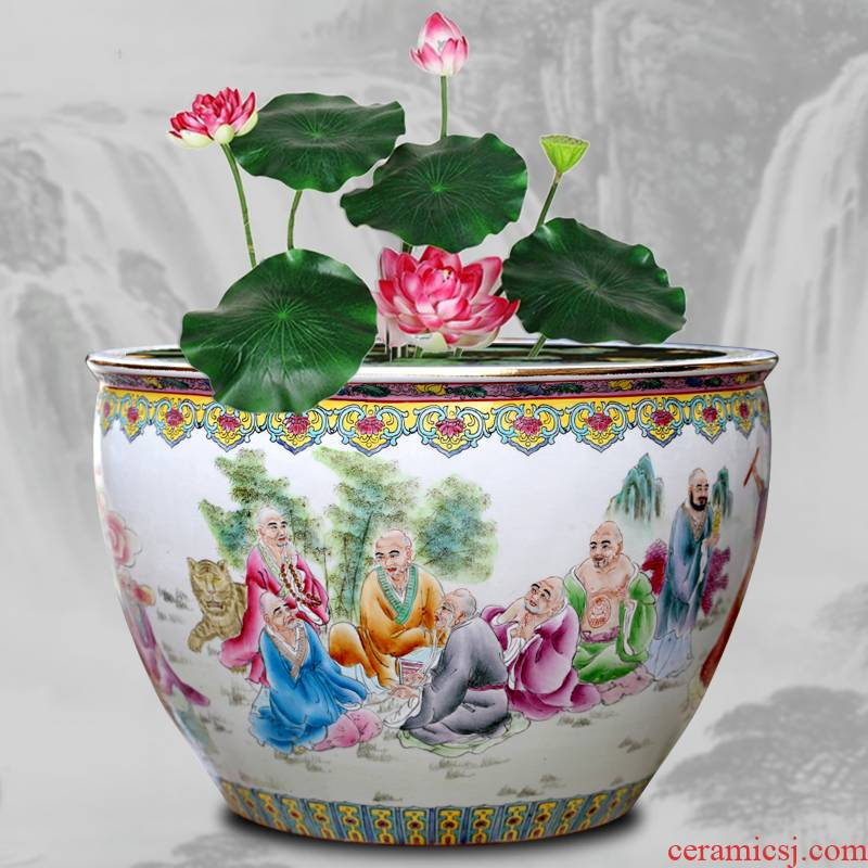 Jingdezhen ceramic aquarium hand - drawn characters figure bamboo seven sages tortoise cylinder office furnishing articles calligraphy and painting to receive the study