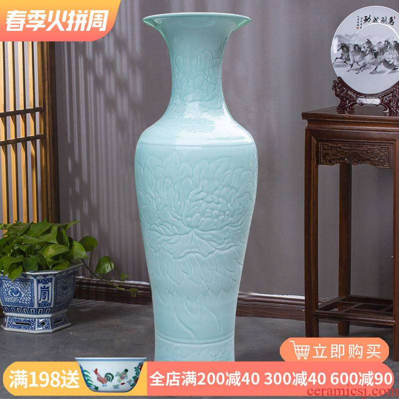 Jingdezhen ceramics hand - carved vase peony landing big new Chinese style household furnishing articles sitting room hotel decoration