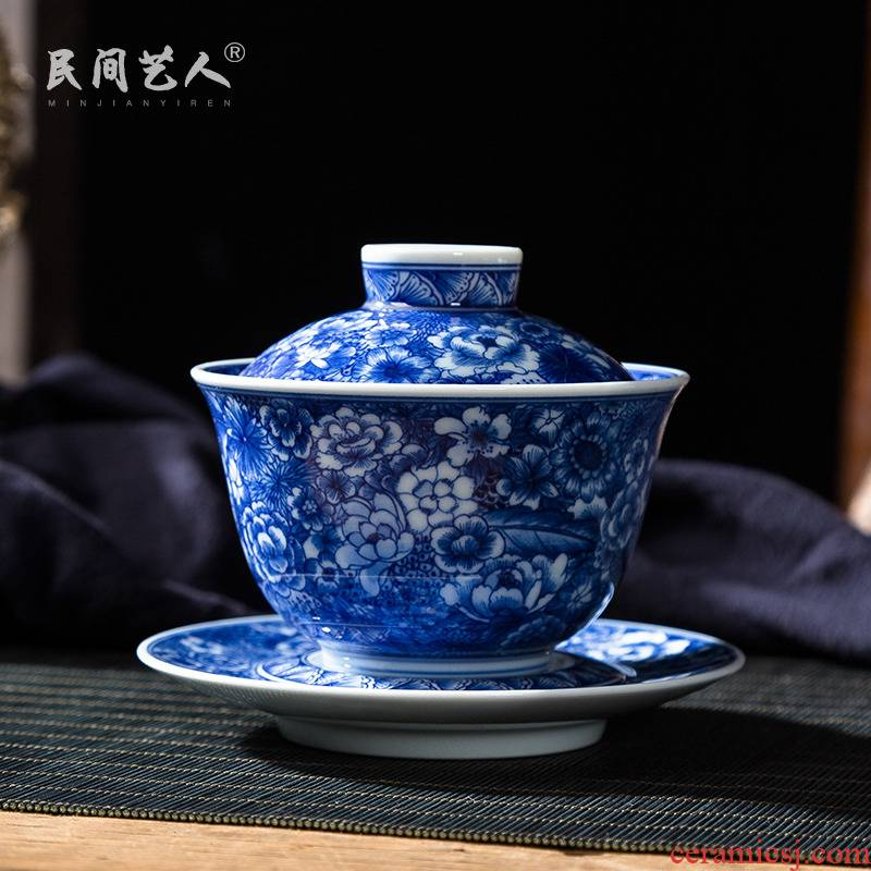 Pure manual hand - made flower tureen of jingdezhen blue and white only three bowl of large ceramic kung fu tea set to tea cups