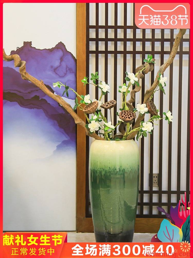 Jingdezhen ceramic Nordic landing big vase furnishing articles Chinese flower arranging dried flower adornment, tall European sitting room